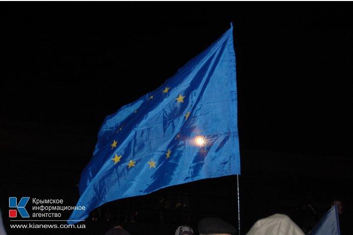 В Симферополе прошла немногочисленная акция в поддержку ассоциации Украины с ЕС
