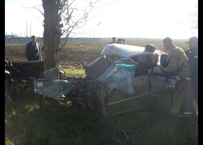 В востоке Крыма автомобиль врезался в дерево