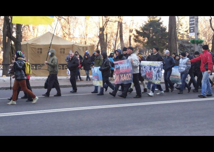 В Киеве наблюдается особое единение участников митинга в поддержку государственного курса