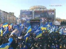 политическая ситуация в Украине, В Киеве севастопольцы поднимали боевой дух гимном