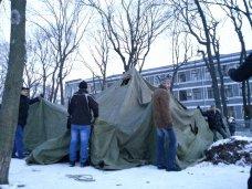 политическая ситуация в Украине, Прибывшие в Киев крымчане разбили лагерь в парке