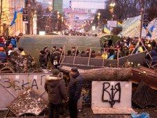 политическая ситуация в Украине, На Крещатике в Киеве участники Евромайдана рубят каштаны для костров
