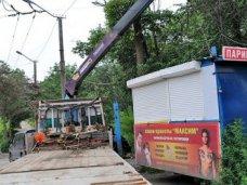 В Севастополе демонтировали незаконно размещенные торговые объекты